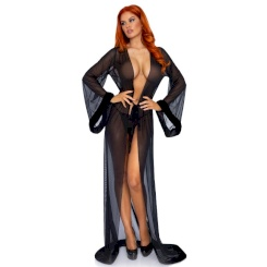 Leg Avenue Black Robe And Panty One Size